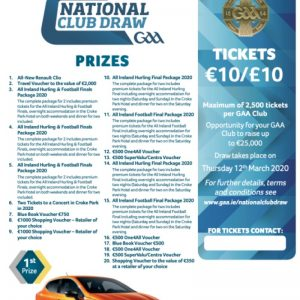 2020 GAA National Club Draw Tickets ON SALE NOW