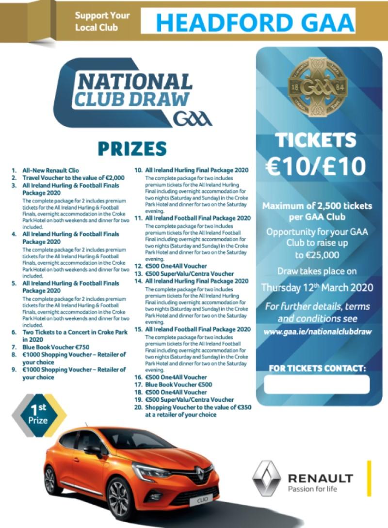 2020 GAA National Club Draw Tickets ON SALE NOW